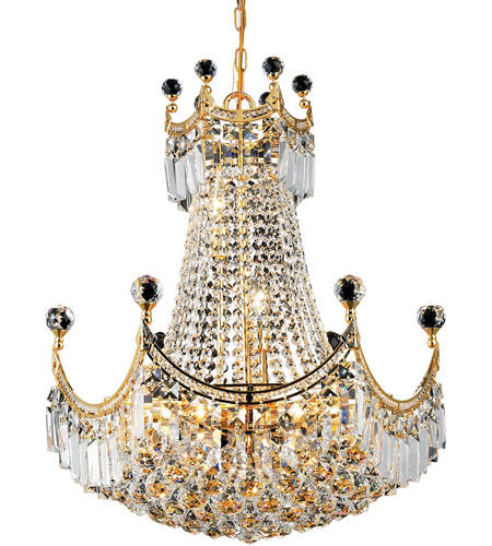 Elegant Lighting Corona 9 Light Dining Chandelier in Gold with Royal Cut Clear Crystal 8949D20G/RC photo