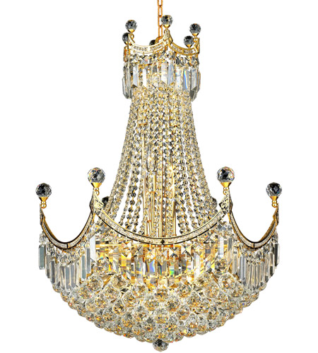 Elegant Lighting Corona 18 Light Dining Chandelier in Gold with Royal Cut Clear Crystal 8949D24G/RC photo