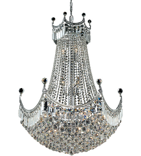 Elegant Lighting Corona 24 Light Dining Chandelier in Chrome with Royal Cut Clear Crystal 8949D30C/RC photo