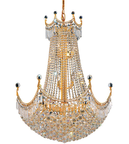 Elegant Lighting Corona 24 Light Dining Chandelier in Gold with Swarovski Strass Clear Crystal 8949D30G/SS photo