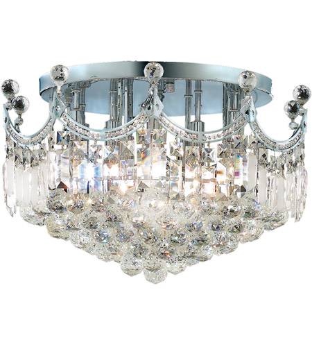 Elegant Lighting Corona 9 Light Flush Mount in Chrome with Swarovski Strass Clear Crystal 8949F20C/SS photo