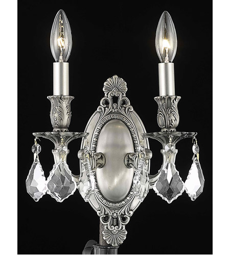 Elegant Lighting 9202W9PW/EC Rosalia 2 Light 9 inch Pewter Wall Sconce Wall Light in Clear, Elegant Cut photo thumbnail
