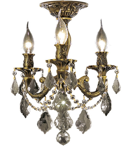 Elegant Lighting Rosalia 3 Light Flush Mount in Antique Bronze with Royal Cut Clear Crystal 9203F13AB/RC photo