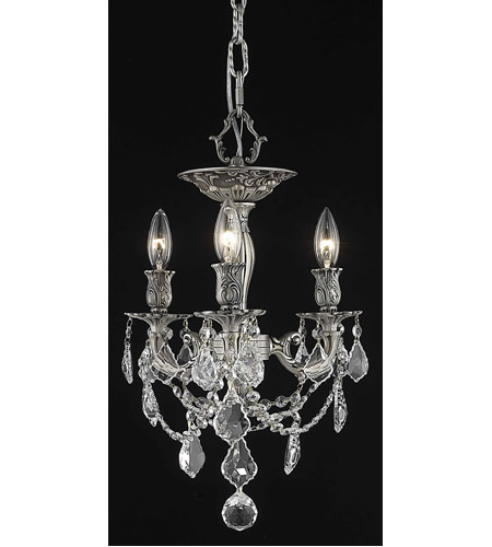 Elegant Lighting 9203F13PW/RC Rosalia 3 Light 13 inch Pewter Flush Mount Ceiling Light in Clear, Royal Cut photo