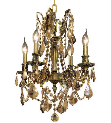 Elegant Lighting Rosalia 4 Light Dining Chandelier in Antique Bronze with Royal Cut Golden Teak Crystal 9204D17AB-GT/RC photo