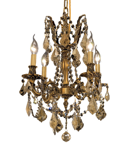 Elegant Lighting 9204D17FG-GT/RC Rosalia 4 Light 17 inch French Gold Dining Chandelier Ceiling Light in Golden Teak, Royal Cut photo