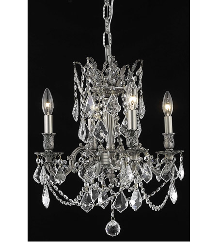 Elegant Lighting 9204D17PW/RC Rosalia 4 Light 17 inch Pewter Dining Chandelier Ceiling Light in Clear, Royal Cut photo