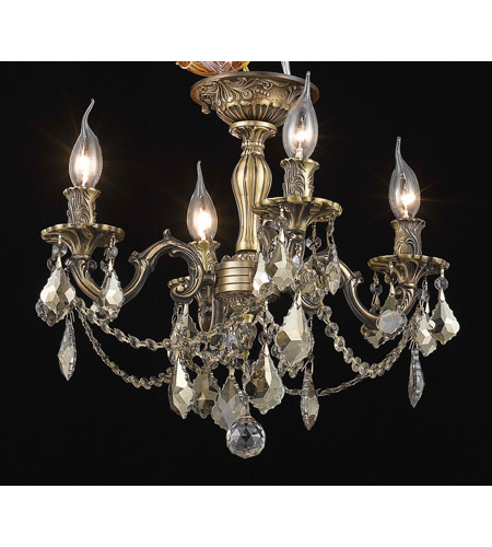 Elegant Lighting Rosalia 4 Light Flush Mount in Antique Bronze with Swarovski Strass Golden Teak Crystal 9204F17AB-GT/SS photo