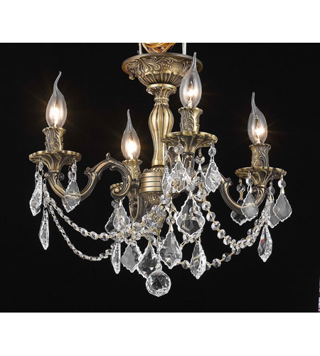 Elegant Lighting Rosalia 4 Light Flush Mount in Antique Bronze with Royal Cut Clear Crystal 9204F17AB/RC photo