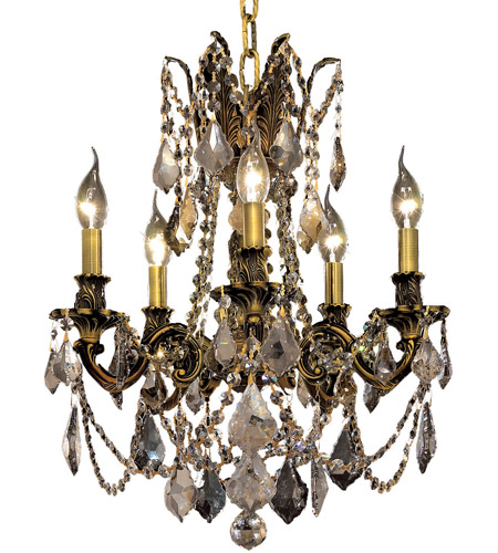 Elegant Lighting Rosalia 5 Light Dining Chandelier in Antique Bronze with Royal Cut Golden Teak Crystal 9205D18AB-GT/RC photo