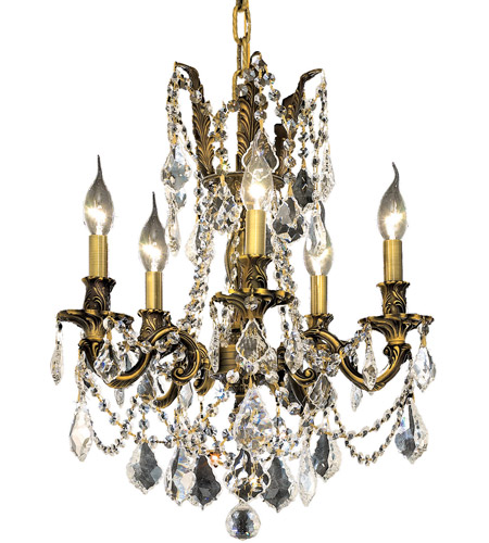 Elegant Lighting Rosalia 5 Light Dining Chandelier in Antique Bronze with Royal Cut Clear Crystal 9205D18AB/RC photo