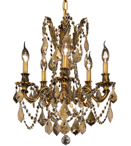 Elegant Lighting Rosalia 5 Light Dining Chandelier in French Gold with Royal Cut Golden Teak Crystal 9205D18FG-GT/RC photo