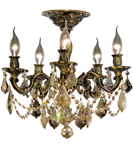 Elegant Lighting Rosalia 5 Light Flush Mount in Antique Bronze with Swarovski Strass Golden Teak Crystal 9205F18AB-GT/SS photo