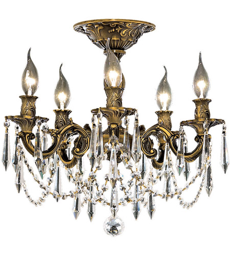 Elegant Lighting Rosalia 5 Light Flush Mount in Antique Bronze with Elegant Cut Clear Crystal 9205F18AB/EC photo