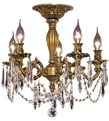 Elegant Lighting Rosalia 5 Light Flush Mount in French Gold with Royal Cut Clear Crystal 9205F18FG/RC photo