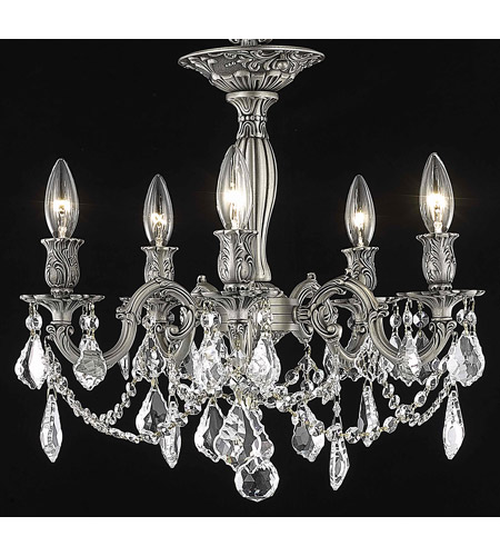 Elegant Lighting Rosalia 5 Light Flush Mount in Pewter with Swarovski Strass Clear Crystal 9205F18PW/SS photo