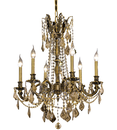 Elegant Lighting 9206D23AB-GT/RC Rosalia 6 Light 23 inch Antique Bronze Dining Chandelier Ceiling Light in Golden Teak, Royal Cut photo