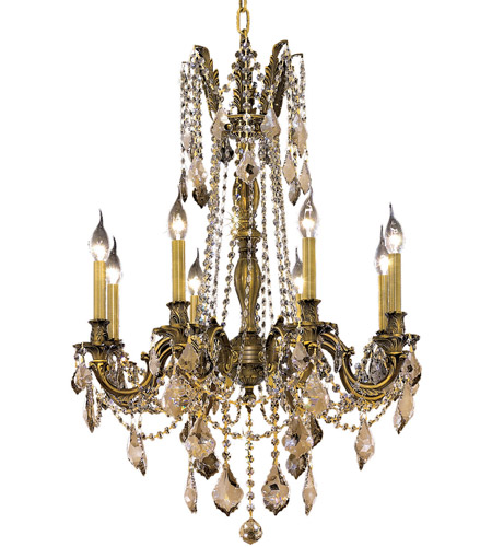 Elegant Lighting 9208D24AB-GT/SS Rosalia 8 Light 24 inch Antique Bronze Dining Chandelier Ceiling Light in Golden Teak, Swarovski Strass photo