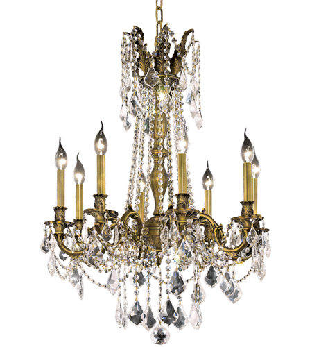 Elegant Lighting Rosalia 8 Light Dining Chandelier in Antique Bronze with Elegant Cut Clear Crystal 9208D24AB/EC photo
