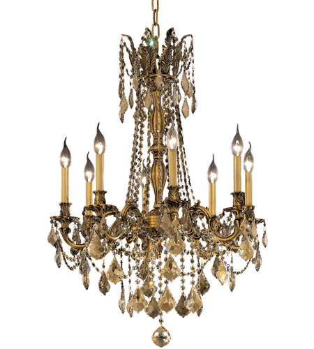 Elegant Lighting Rosalia 8 Light Dining Chandelier in French Gold with Royal Cut Golden Teak Crystal 9208D24FG-GT/RC photo
