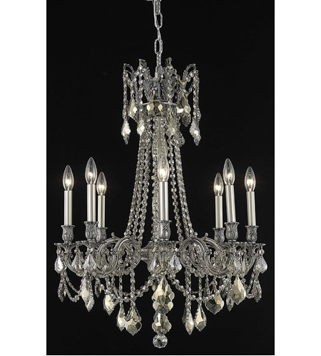 Elegant Lighting Rosalia 8 Light Dining Chandelier in Pewter with Royal Cut Golden Teak Crystal 9208D24PW-GT/RC photo