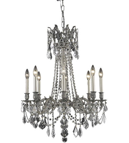Elegant Lighting 9208D24PW/SS Rosalia 8 Light 24 inch Pewter Dining Chandelier Ceiling Light in Clear, Swarovski Strass photo