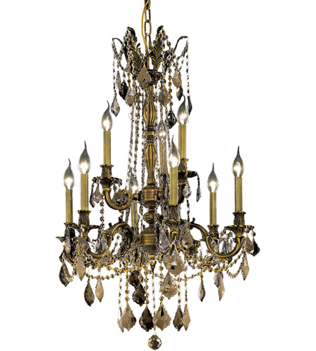 Elegant Lighting Rosalia 9 Light Dining Chandelier in Antique Bronze with Royal Cut Golden Teak Crystal 9209D23AB-GT/RC photo