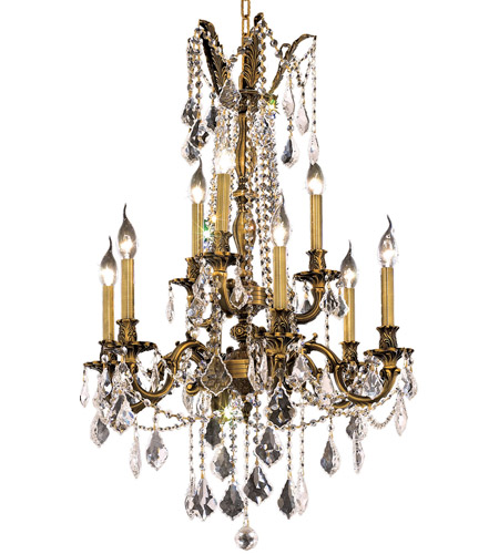 Elegant Lighting Rosalia 9 Light Dining Chandelier in Antique Bronze with Spectra Swarovski Clear Crystal 9209D23AB/SA photo