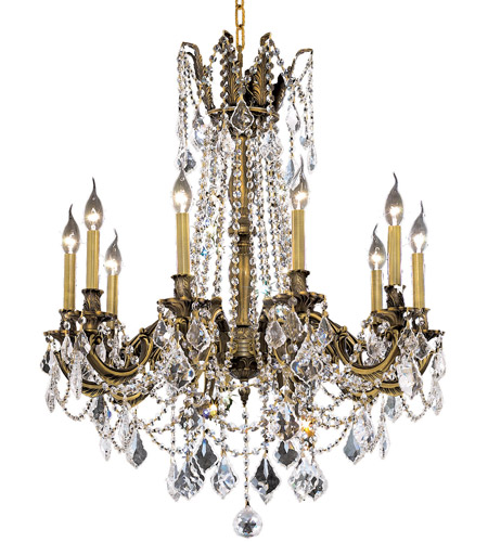 Elegant Lighting Rosalia 10 Light Dining Chandelier in Antique Bronze with Royal Cut Clear Crystal 9210D28AB/RC photo