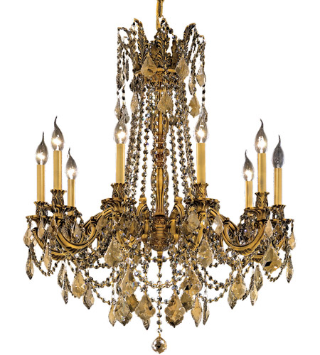Elegant Lighting Rosalia 10 Light Dining Chandelier in French Gold with Swarovski Strass Golden Teak Crystal 9210D28FG-GT/SS photo