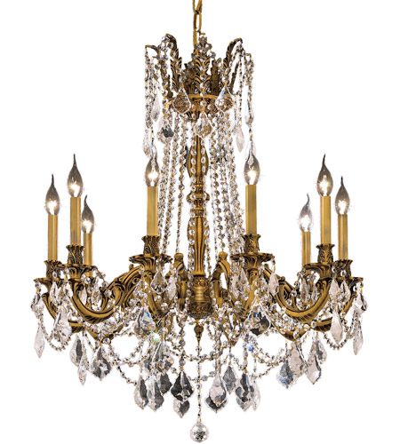 Elegant Lighting Rosalia 10 Light Dining Chandelier in French Gold with Swarovski Strass Clear Crystal 9210D28FG/SS photo