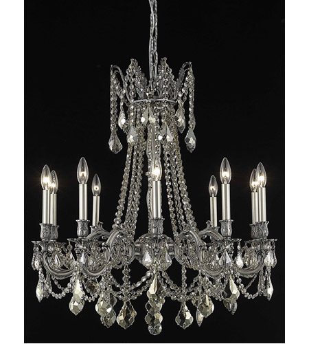 Elegant Lighting Rosalia 10 Light Dining Chandelier in Pewter with Royal Cut Golden Teak Crystal 9210D28PW-GT/RC photo