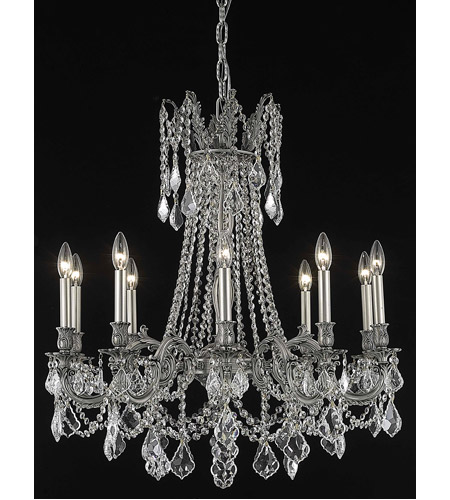 Elegant Lighting Rosalia 10 Light Dining Chandelier in Pewter with Elegant Cut Clear Crystal 9210D28PW/EC photo