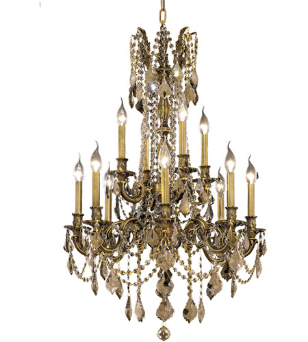 Elegant Lighting Rosalia 12 Light Dining Chandelier in Antique Bronze with Swarovski Strass Golden Teak Crystal 9212D24AB-GT/SS photo