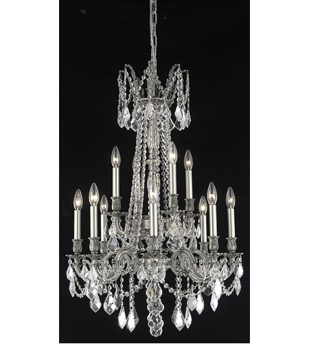Elegant Lighting 9212D24PW/RC Rosalia 12 Light 24 inch Pewter Dining Chandelier Ceiling Light in Clear, Royal Cut photo