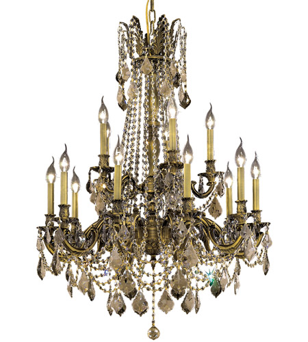 Elegant Lighting Rosalia 15 Light Dining Chandelier in Antique Bronze with Swarovski Strass Golden Teak Crystal 9215D28AB-GT/SS photo