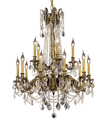 Elegant Lighting 9215D28AB/SA Rosalia 15 Light 28 inch Antique Bronze Dining Chandelier Ceiling Light in Clear, Spectra Swarovski photo