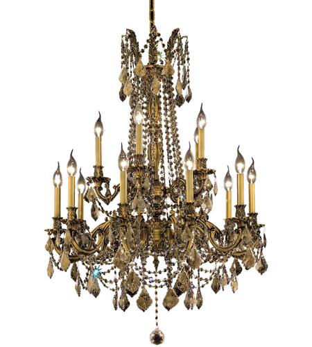 Elegant Lighting Rosalia 15 Light Dining Chandelier in French Gold with Swarovski Strass Golden Teak Crystal 9215D28FG-GT/SS photo