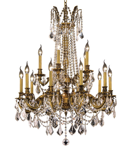Elegant Lighting 9215D28FG/SS Rosalia 15 Light 28 inch French Gold Dining Chandelier Ceiling Light in Clear, Swarovski Strass photo
