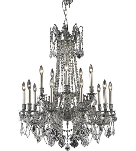 Elegant Lighting Rosalia 15 Light Dining Chandelier in Pewter with Royal Cut Clear Crystal 9215D28PW/RC photo