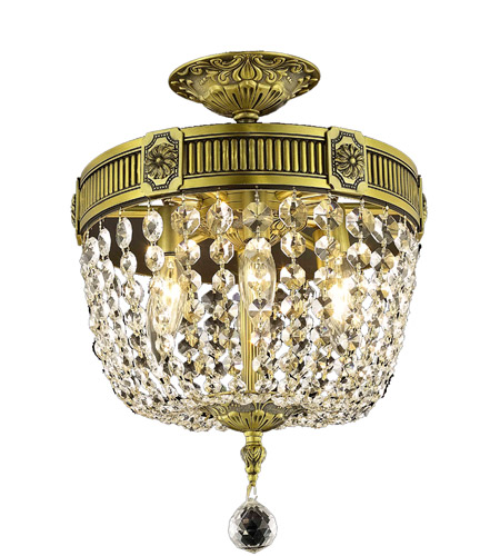 Elegant Lighting 9303f12ab Ss Esperanza 3 Light 12 Inch Antique Bronze Flush Mount Ceiling In Swarovski Str