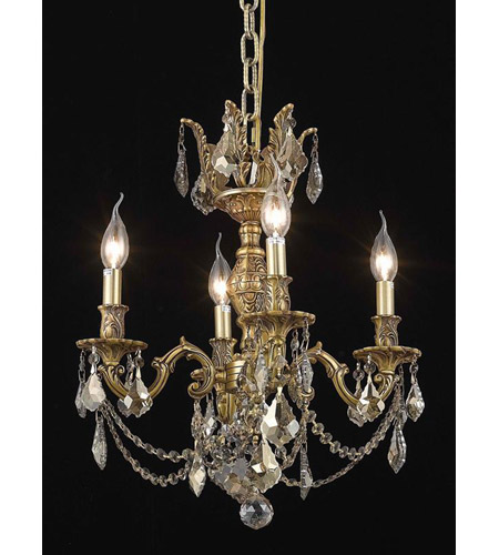 Elegant Lighting Marseille 4 Light Dining Chandelier in French Gold with Royal Cut Golden Teak Crystal 9504D17FG-GT/RC photo