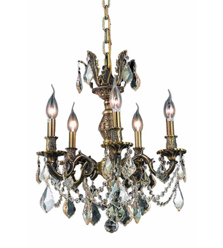 Elegant Lighting Marseille 5 Light Dining Chandelier in Antique Bronze with Royal Cut Golden Shadow Crystal 9505D18AB-GS/RC photo