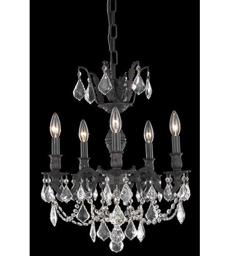 Elegant Lighting Marseille 5 Light Dining Chandelier in Dark Bronze with Royal Cut Clear Crystal 9505D18DB/RC photo