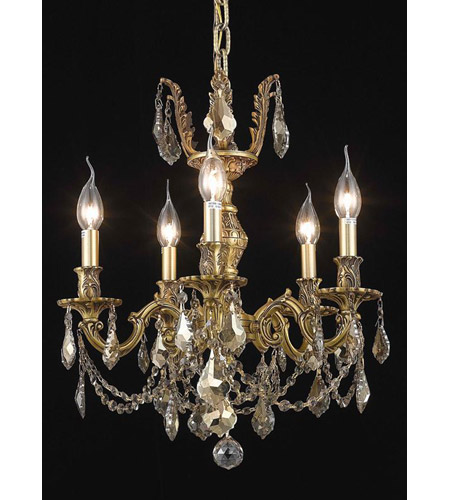 Elegant Lighting Marseille 5 Light Dining Chandelier in French Gold with Royal Cut Golden Teak Crystal 9505D18FG-GT/RC photo