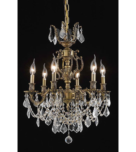 Elegant Lighting Marseille 6 Light Dining Chandelier in Antique Bronze with Swarovski Strass Golden Shadow Crystal 9506D20AB-GS/SS photo