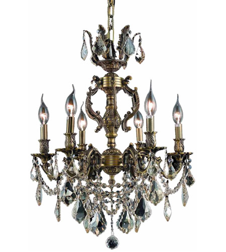 Elegant Lighting Marseille 6 Light Dining Chandelier in Antique Bronze with Elegant Cut Clear Crystal 9506D20AB/EC photo