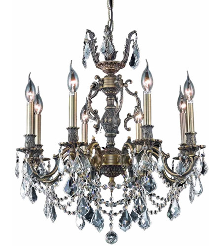 Elegant Lighting Marseille 8 Light Dining Chandelier in Antique Bronze with Royal Cut Clear Crystal 9508D24AB/RC photo