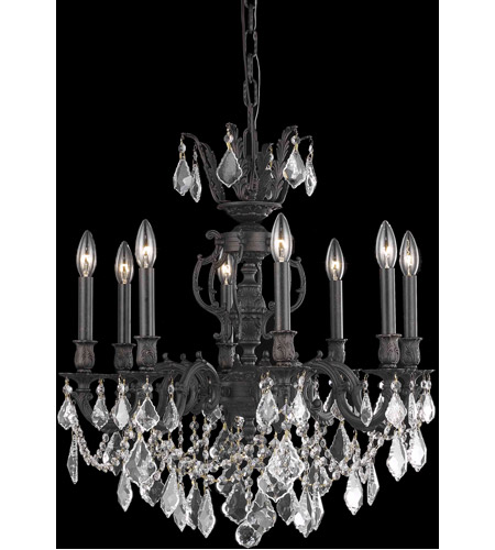Elegant Lighting 9508D24DB/RC Marseille 8 Light 24 inch Dark Bronze Dining Chandelier Ceiling Light in Clear, Royal Cut photo