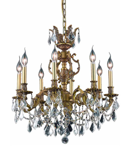 Elegant Lighting Marseille 8 Light Dining Chandelier in French Gold with Royal Cut Clear Crystal 9508D24FG/RC photo